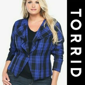 Torrid | Blue & Black Plaid Jacket